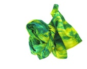 SALE   ...   large hand dyed silk scarf  ... shades of emerald and yellow