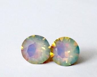 Post Earrings Silk Sun Opal  Swarovski Crystal round Gold green Yellow Blue Weddings Bridal Jewlelry Brides