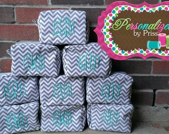 Grey and White Chevron *Monogrammed* Makeup Bag  (Set of 7 Bridesmaid Gifts)