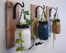 Wall decor-Individual Hanging Painted Mason Jars , mounted to wood base with wrought iron hooks, rustic decor, painted jars, farmhouse decor