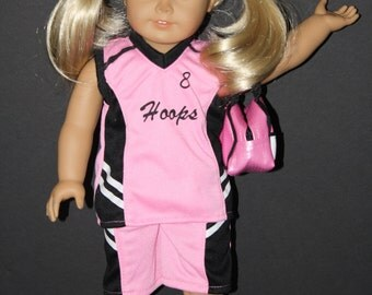 18 Inch Doll Basketball Girl Pink Uniform with Basketball, Bag and Shoes