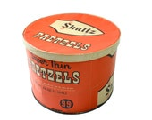 RARE Vintage Shultz Pretzel Container, Cardboard Round Box, Orange Vintage Pretzel Advertising Box