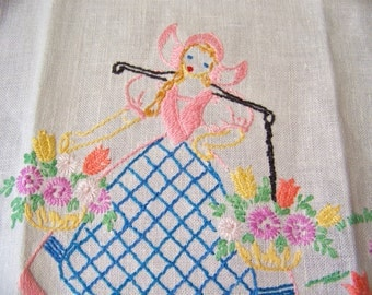 Vintage Dresser Scarf Hand Embroidered Lovely Lady Dresser Scarf Pink and Blue Embroidery Fringed Edge Vintage 1960s