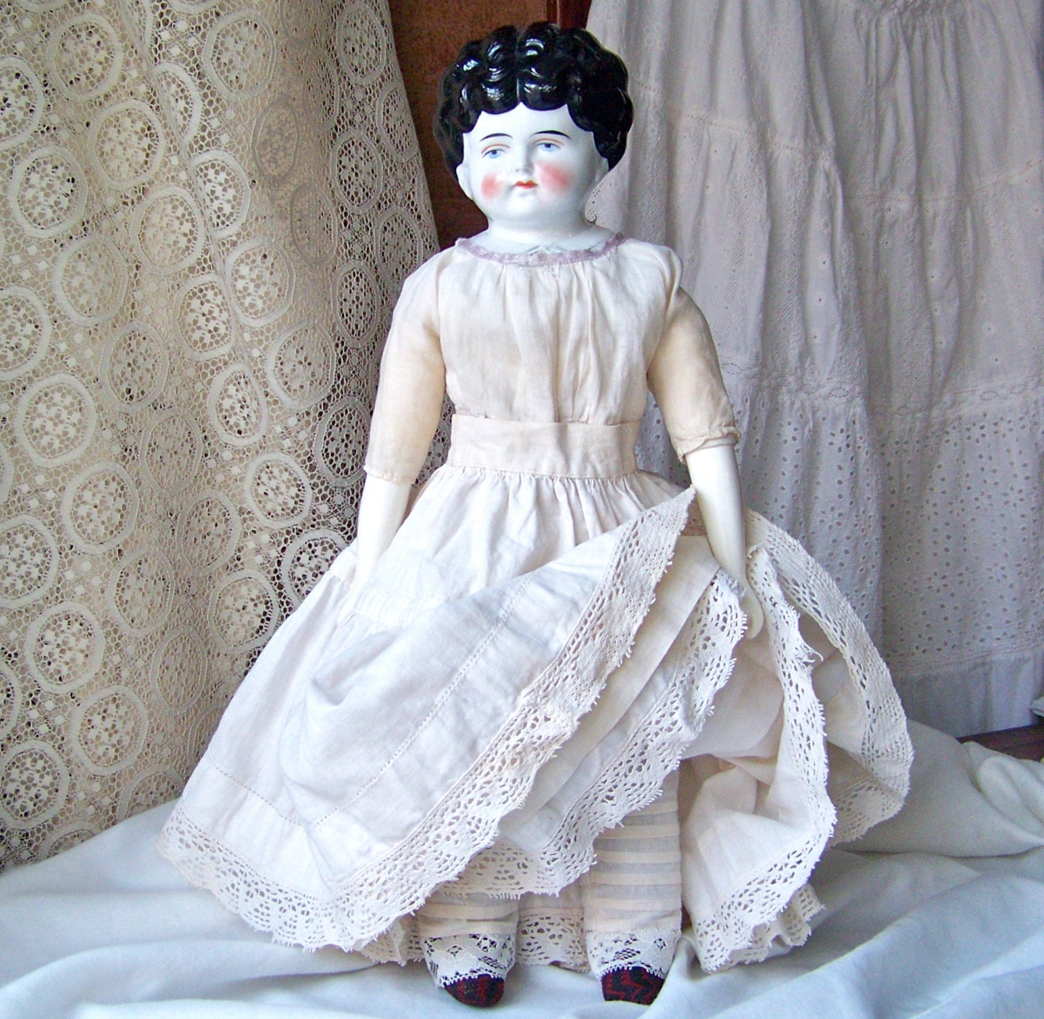 Old Porcelain Head Doll With Leather Hands And Shoes