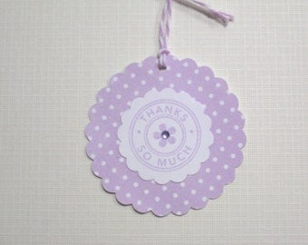 Set of 10 Lavender Polka Dots Baby Shower Tags- It's a Girl Tags - Thank You Tags - Gift Tags - Paper Tags - Baby Shower Favors - Baby Tags