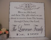 Religious Sign, Dinning Room Decor, Shabby Chic, Established Date, Personalized Family sign, Bless Us Oh Lord.