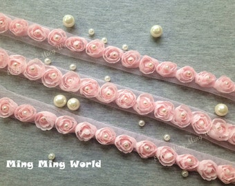 1.5 yards Pink(1) Color Hand Made Sew Pearl Rose Chiffon Lace Trim (C8)