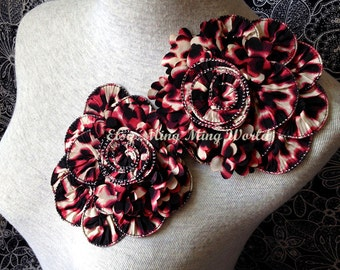 Chiffon Applique Lace Trim - 1 PCS Flower Applique Lace (A102)