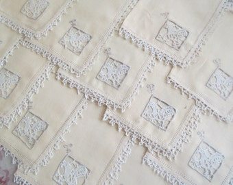 AMAZING Set 12 Vintage Cocktail Napkins Hand Embroidered Reticella Type Linen Pale Peach Rooster Design C22