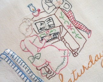 Vintage Large Dish Kitchen Towel Embroidered Day of The Week SATURDAY Blue Victorian Man & Woman Playing Piano LA-59