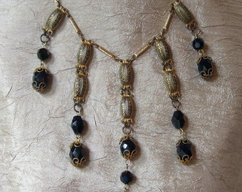 Vintage Waterfall Front Necklace with Black Bead Accents Downton Abbey Edwardian Victorian Steampunk