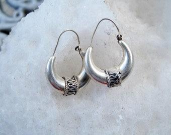 Sterling Hoop Earrings with Half Moon Design from India, Vintage