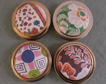 Mason Jar Lid Pincushion Vintage Fabric 4 Pieces DIY-Free Shipping