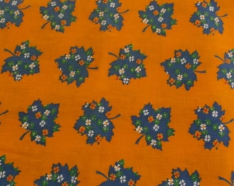Vintage Fabric Heavy Weight Cotton Orange with Blue Calico Leaves 1 Yard Plus