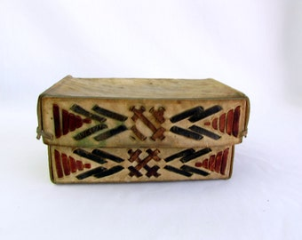 Vintage Hand Made Leather Rawhide Box