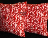 Accent Pillows, Throw Pillows, Pillow Covers - Lipstick Red and White - Two 18 Inch