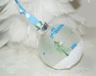 Baby Boy's First Christmas Ornament, Personalized Ornament, Snow, Blue Bird - Hand Painted Ornament, Frosted Glass Christmas Ornament