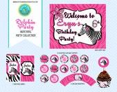 Zebra Print Birthday Party Printable Collection Flower Zebra Zoo Safari Pink Black Party Set