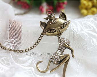 Pretty retro Bronze crystals Cat on branch necklace pendant jewelry vintage style  N21-04