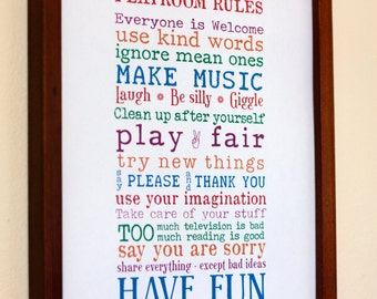 Print Your Own - 8x10 - Playroom Rules Sign
