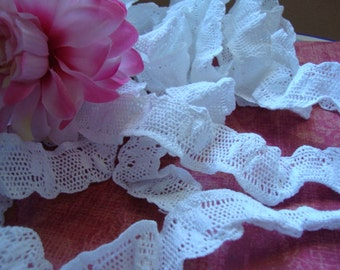 "1.25"" Wide Ruffled Elastic Trim Crochet Style Elastic White Stretch Lace Mesh Lace for Sewing Children Clothes Lingerie 102"
