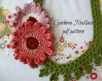 CROCHET PATTERN Gerbera Necklace- digital pattern,crocheted flower necklace, crocheted gerberas, flower necklace, photo tutorial