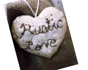 Rustic Love heart/pin-cushion, ornament/bowl filler, et.