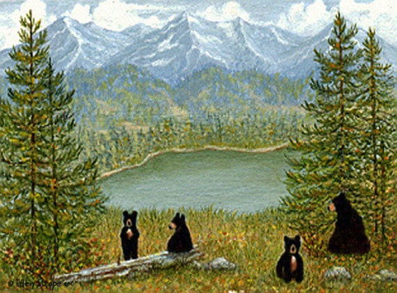 NOTE CARD, Bears, Black bears, Mountains, Bear decor, Animal decor, Wimsical, Ellen Strope