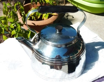 "Lovely Vintage French Large Tea Kettle ""MENESA"" - Chromed Copper - 4 L - Great Shape - Tea Pot - Coffee Pot - Kitchen Decor"