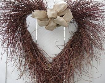 Rustic Twig Wreath   Heart Wreath    Rustic Wedding  Valentine Wreath  Door Wreath  Weddinig Wreath  Wedding Decor
