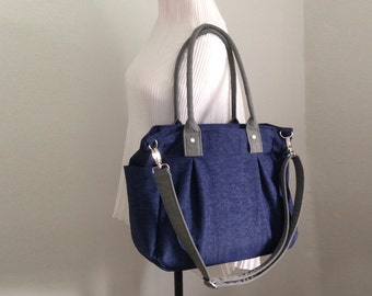SALE - Messenger Tote bag in Navy blue and Grey Water-Resistant Nylon, Diaper bag, Shoulder Bag, Work, Purse, Unisex 3 Compartments - Nuch