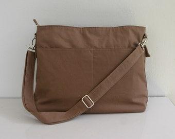 SALE Tan Messenger bag with 3 Exterior Pockets, Diaper bag, Shoulder bag, Hobo bag, Purse Tote, Canvas bag, School bag, Travel bag - Kim