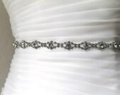 Bridal/Bridesmaid gunmetal rhinestone jewel sash.  Antique silver rhinestone wedding belt.  STELLA
