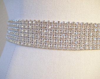 Sale 20% Off.  Dazzling bridal beaded Czechoslovakia rhinestone band sash.  Crystal wedding belt, 6 rows.  CRYSTAL DREAM.