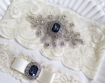 Bridal rhinestone applique heirloom garter set. Cream/ Ivory stretch lace Something Blue Sapphire Gem wedding garter. BLUE SAPPHIRE