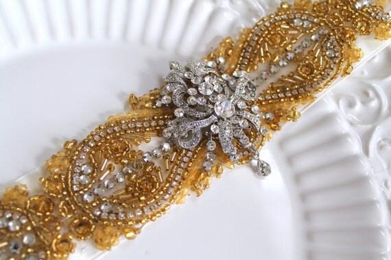Elegant bridal gold beaded crystal sash. Vintage art-nouveau rhinestone applique wedding belt.    VINTAGE ROMANCE.