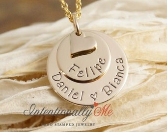 Hand Stamped Mommy Jewelry - Personalized Layered 14K Gold Filled Necklace - Stack of Two Gold with heart by Intentionally Me