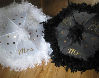 MR. and MRS. Wedding Second Line Umbrellas- set of 2- Straight from New Orleans Hand painted- Feathers or Fringe- Wedding Umbrella Parasol