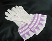 20s Vintage Art Deco Gloves - Crochet with French Cuff - 1920s Flapper Gloves