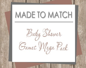 Made to Match Printable Baby Shower Mega Game Pack (Made to match one of our designs, no personalization or wording changes)