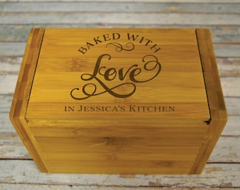 Baked with Love Personalized Recipe Box SCRATCH & DENT CLOSEOUT Engraved - 4x6 inch recipe cards birthday, chef, kitchen bridal shower