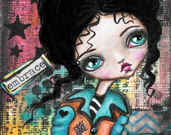 Mixed Media Big Eye Art Giclee Print Signed Reproduction Dreams No.2 by Lizzy Love [IMG#40]