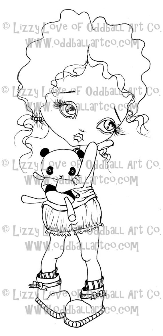 Digi Stamp Digital Instant Download Big Eye Bedtime Pajamas Girl Image No. 11 by Lizzy Love
