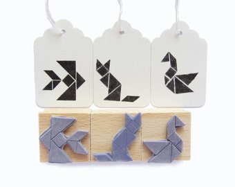 3 rubber stamps - TANGRAM