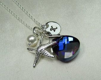 Personalized Initial Necklace Monogram Necklace Beach Bridesmaid Jewelry Starfish Necklace Bridesmaid Gift Bermuda Blue Beach Jewelry