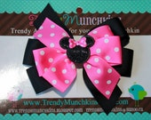 Minnie Mouse Pinwheel Hair Bow -Pink and Black Glitter Polka Dot Layered Hair Bow