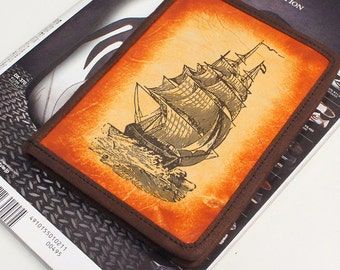 Kindle Leather Cover - Pirate Ship - Customizable - Free Personalization