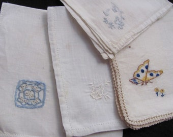 Lot of 4 Assorted Solid Off White Linen Cotton Hankies