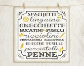 Italian Pasta -White- 12x12 Art Print - Kitchen, Gifts, Home, Vintage, Food, Wall Decor - Word Art -Black, White, Tan, Yellow