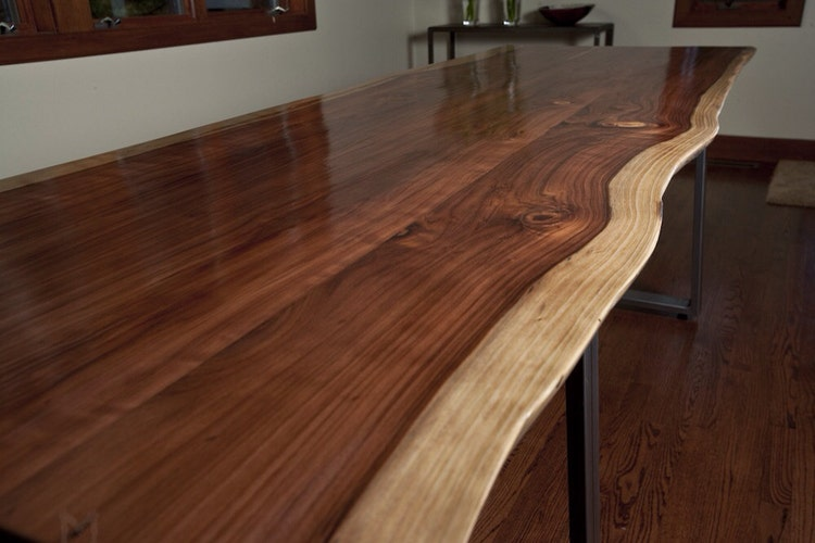 Live Edge Redwood Dining Table Or Large Desk Steel By Mezworks